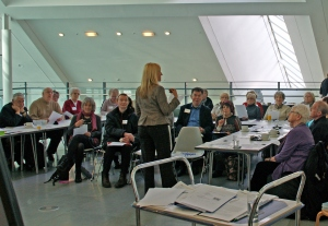 "Karen delivering the ""Housing and Care Options in Later Life"" training. Photo by P Cavanagh"