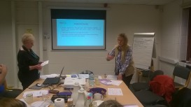 Pauline and Liz presenting to the group